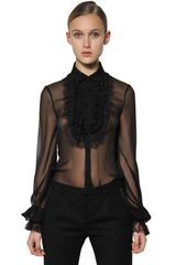 Saint Laurent Ruffled Lace On Silk Georgette Shirt - Lyst