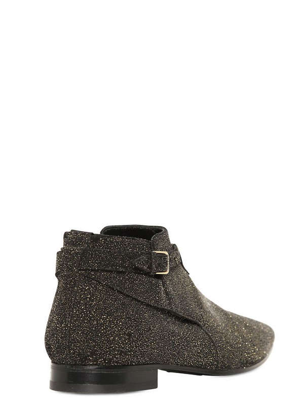 a80b0b1d8f Saint Laurent Glitter Leather Low Boots in Metallic for Men - Lyst