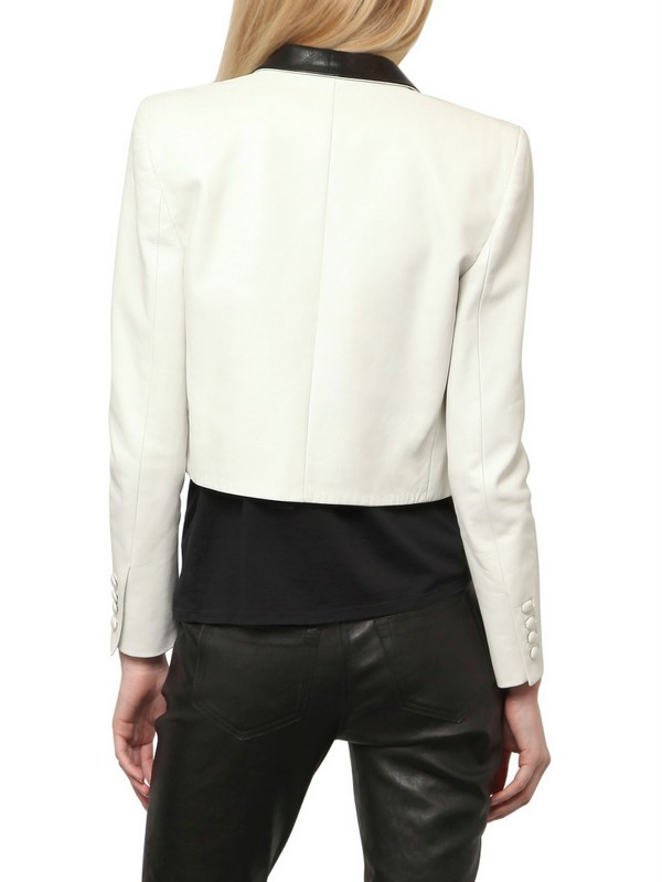 bc6dc63d82d5 Lyst - Saint Laurent Nappa Leather Bolero Jacket in White