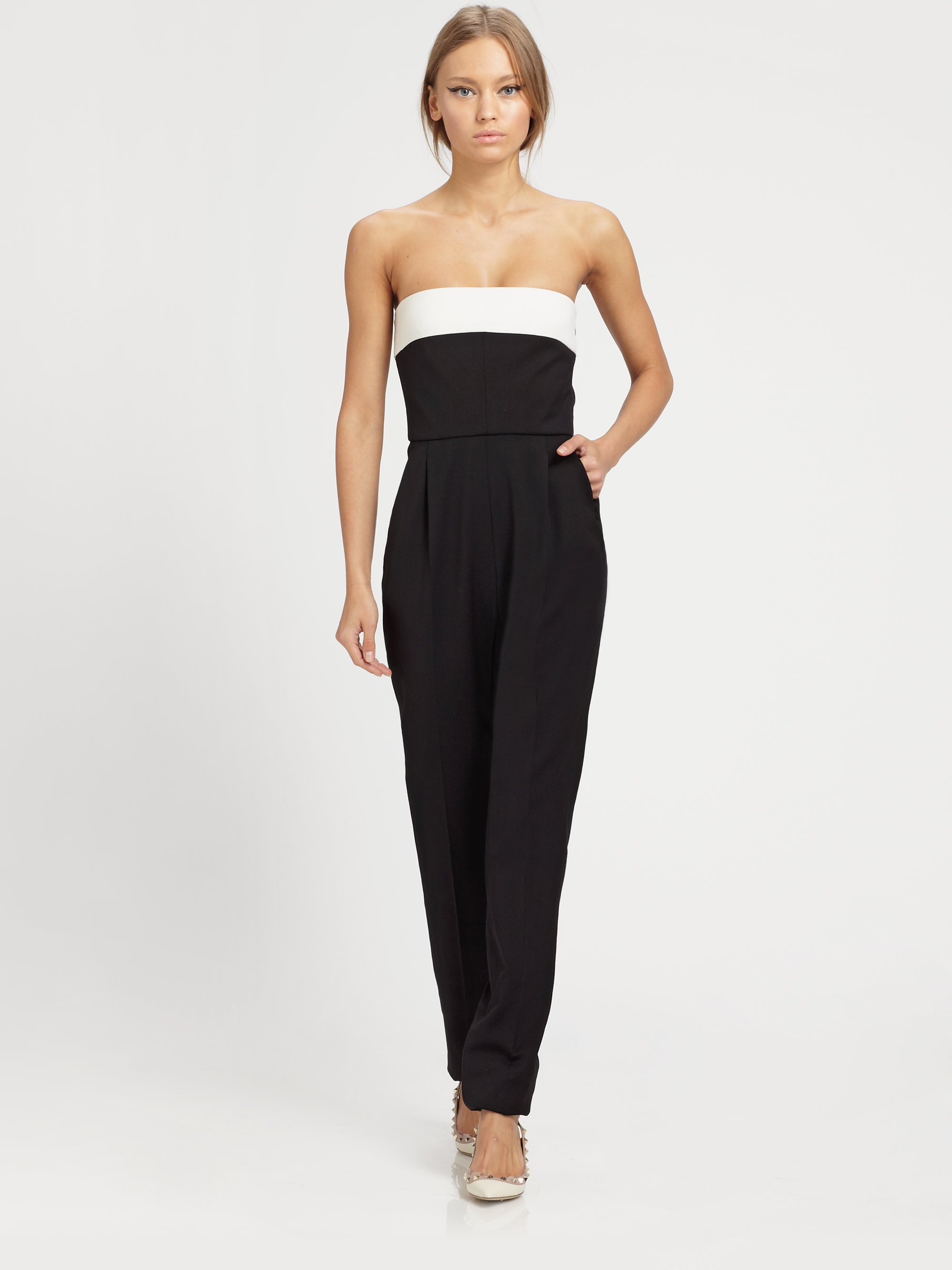 Lyst - Valentino Strapless Bowback Silk Jumpsuit in Black
