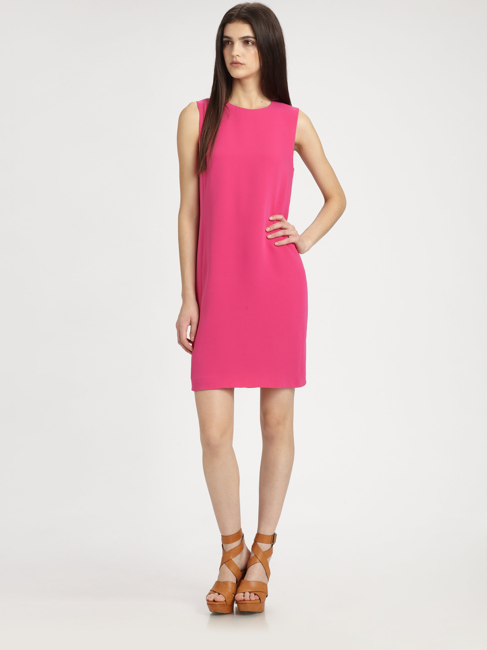 Vince Sleeveless Silk Shift Dress in Pink | Lyst