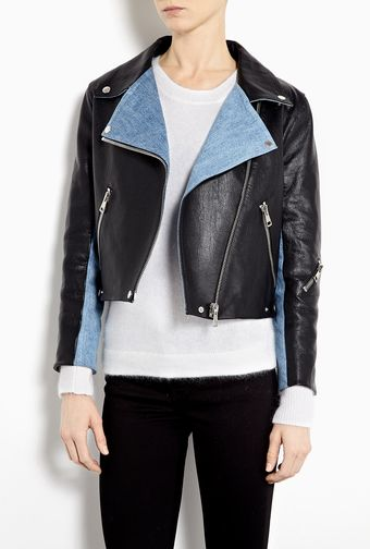 Acne Rita Leather Jacket with Denim Panels - Lyst