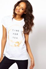 ASOS Collection Asos Stripe T-shirt with Time For Tea Print - Lyst