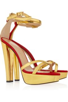 Charlotte Olympia Tokyo Metallic Leather and Suede Sandals - Lyst