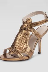 Elizabeth And James Tango Metallic Lizardembossed Sandal - Lyst
