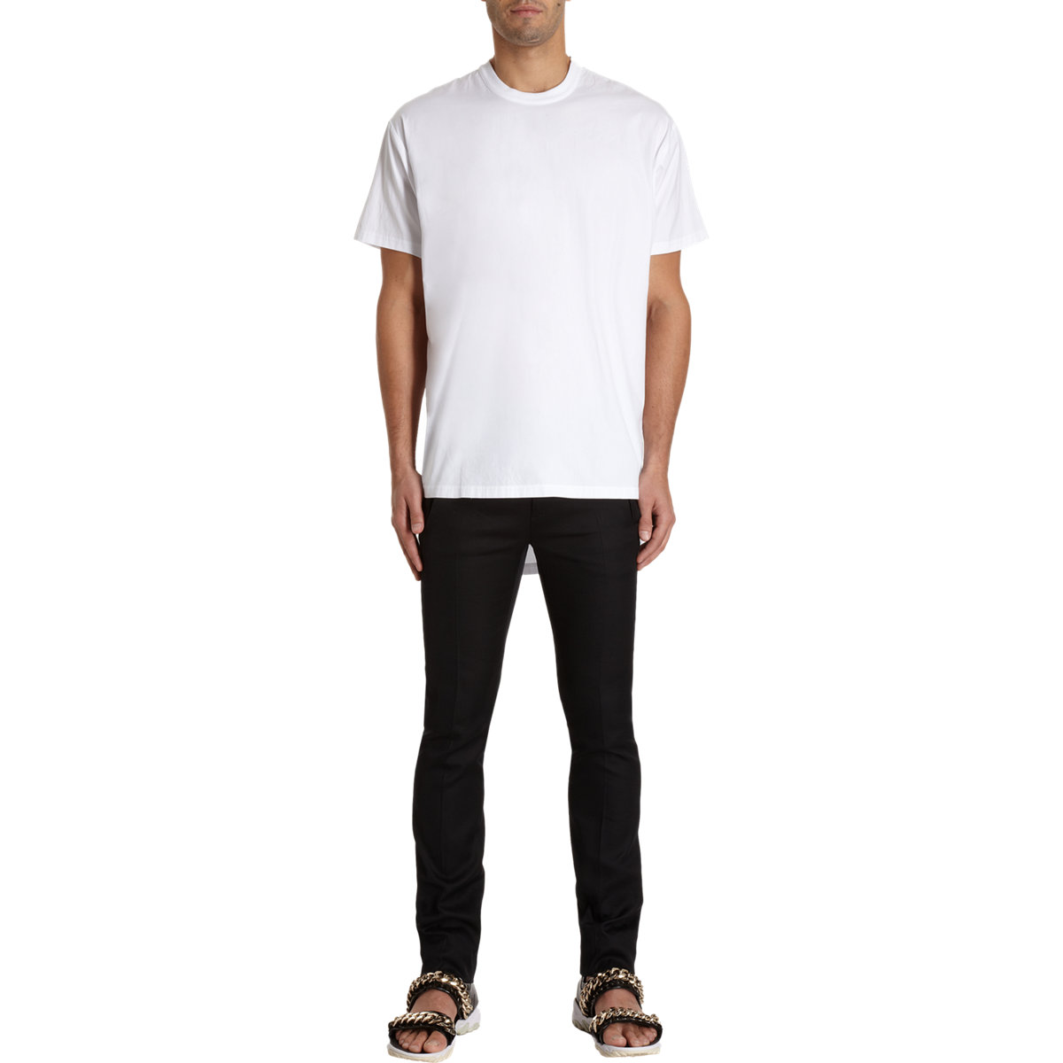 Givenchy Long Back Short Sleeve T Shirt In White For Men