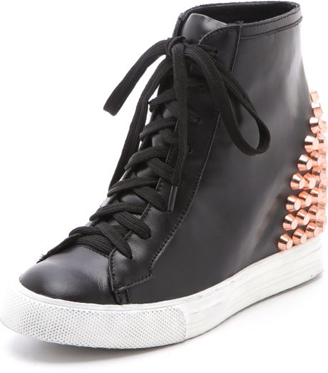 Jeffrey Campbell Edea Stud Wedge Sneakers in Black - Lyst