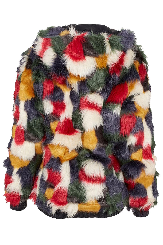Lyst Topshop Patchwork Faux Fur Hooded Coat