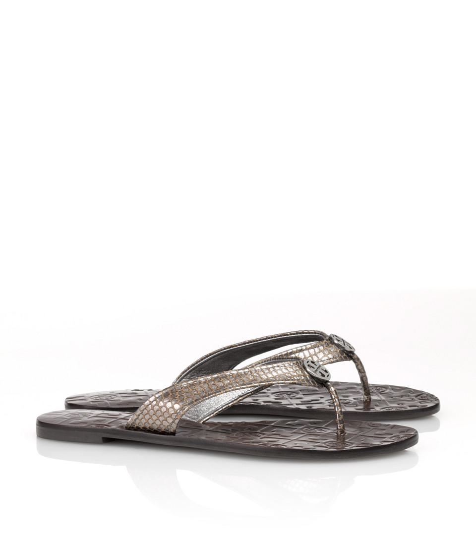 937db80b599 Lyst - Tory Burch Metallic Snake Printed Thora Sandal in Black