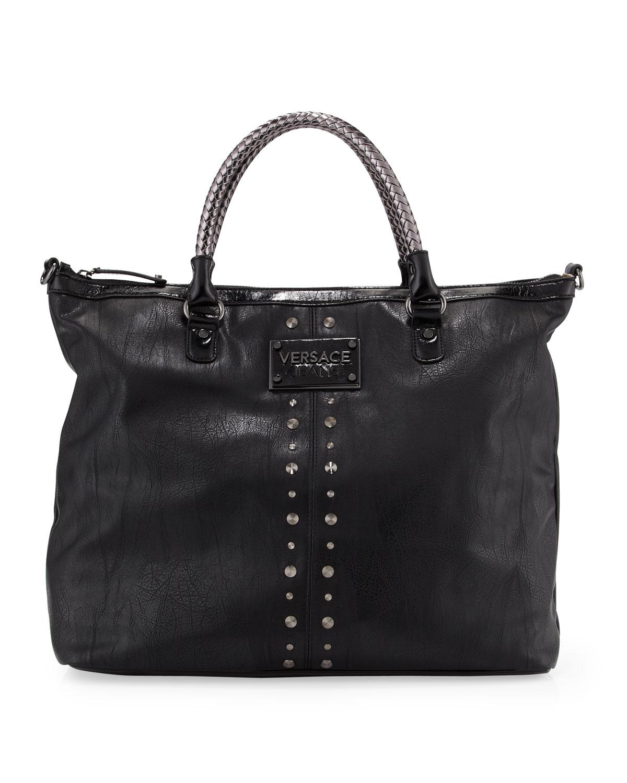 versace jeans couture studtrim tote bag in black lyst. Black Bedroom Furniture Sets. Home Design Ideas