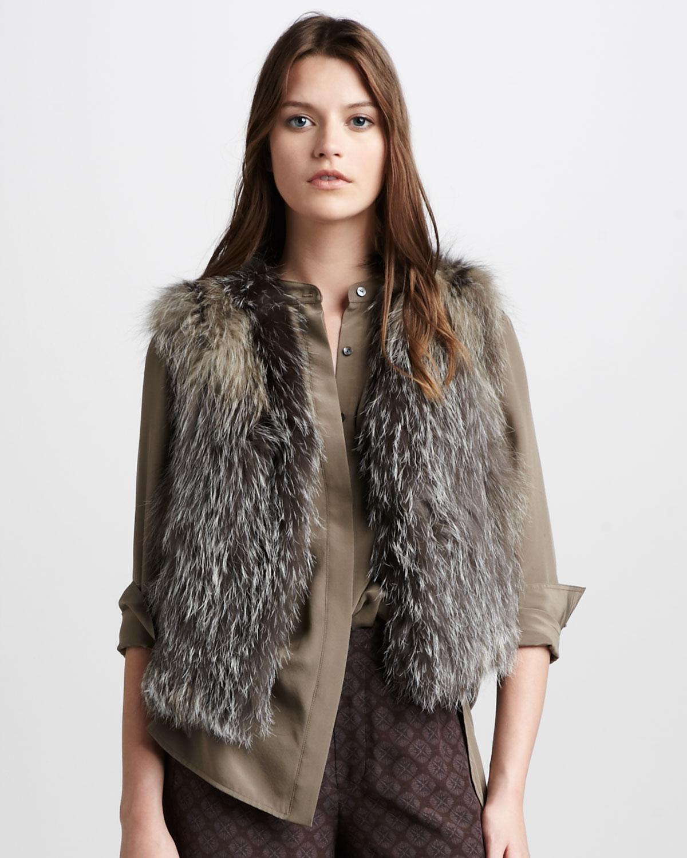 Vince Fox Fur Vest in Gray (walnut) | Lyst