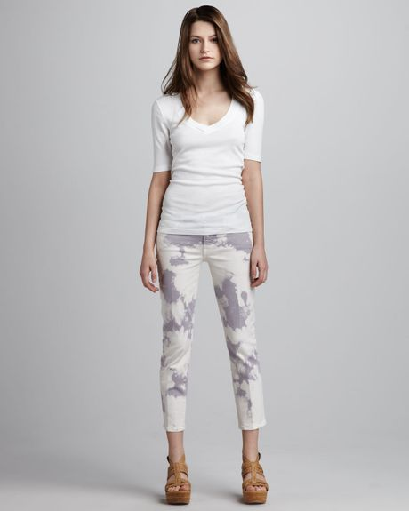 7 for all mankind roxanne cloud tiedye cropped jeans in. Black Bedroom Furniture Sets. Home Design Ideas