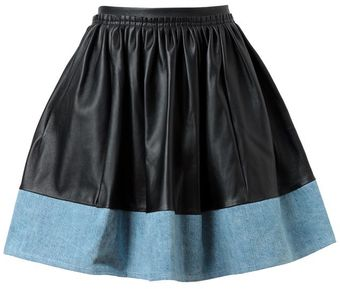 Acne Blessed Leather and Denim Skirt - Lyst