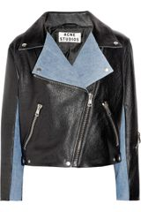 Acne Rita Leather and Denim Biker Jacket - Lyst