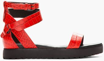 Alexander Wang Red Crocodile Embossed Jade Flat Sandals - Lyst