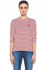 Comme Des Garçons Striped Long Sleeve Red Emblem Tee  - Lyst