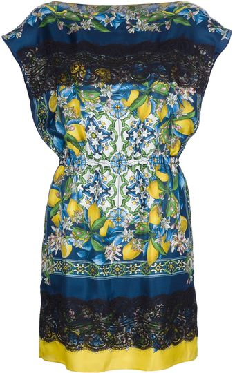Dolce & Gabbana Lemon Printed Dress - Lyst