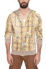 John Galliano Cotton Fleece Python Print Sweatshirt - Lyst