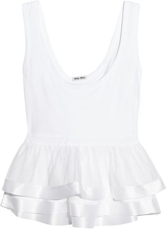 Miu Miu Cotton and Silkorganza Peplum Tank - Lyst