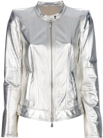 Roberto Cavalli Metallic Leather Jacket - Lyst