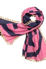 Tory Burch Printed Reva Scarf with Pompoms - Lyst