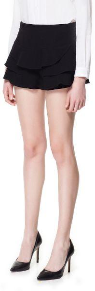 Zara Frilled Shorts in Black