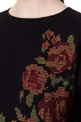 Zara CrossStitched Flower Sweater in Floral (black) - Lyst