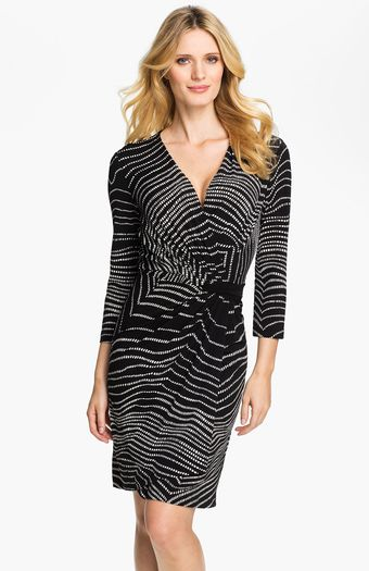 Alex & Ava Printed Faux Wrap Dress - Lyst