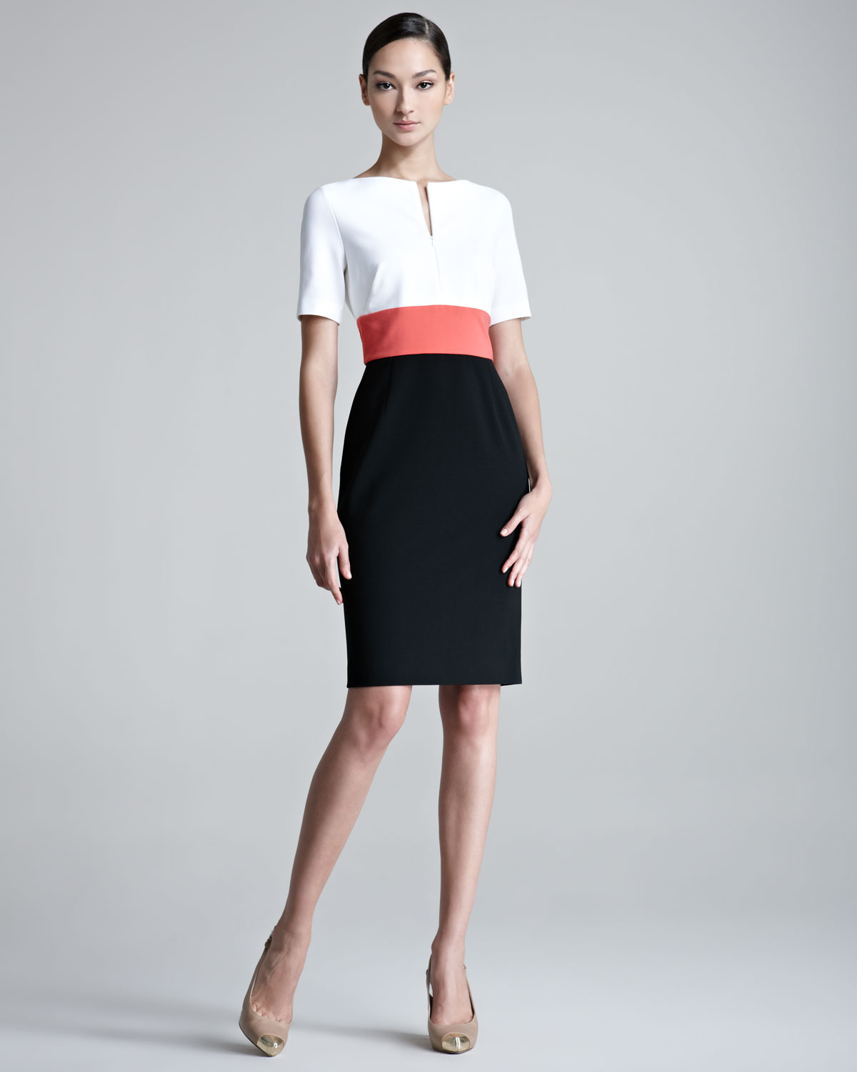 Escada Danusia Colorblock Colorblock Dress in White