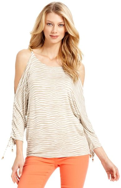 Michael Kors Dolmansleeve Cutoutshoulder Animalprint in Beige (animal)