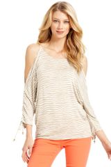 Michael Kors Dolmansleeve Cutoutshoulder Animalprint in Beige (animal) - Lyst