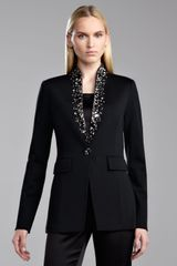 St. John Collection Milano Knit Stand Collar Jacket - Lyst
