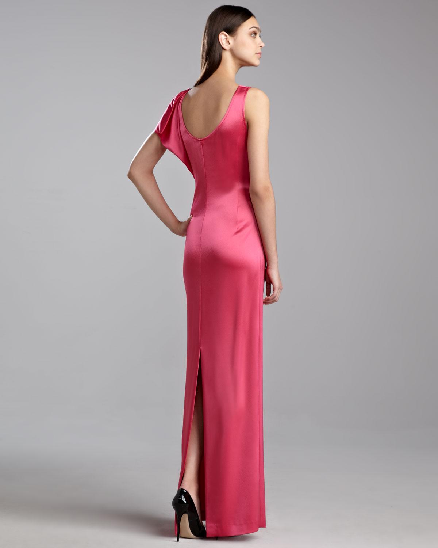 Lyst - St. John Liquid Satin Drape Gown in Pink
