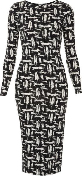 Topshop Scratch Graffiti Midi Dress - Lyst