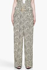 Marni Yellow and Black Flared Silk Trousers - Lyst