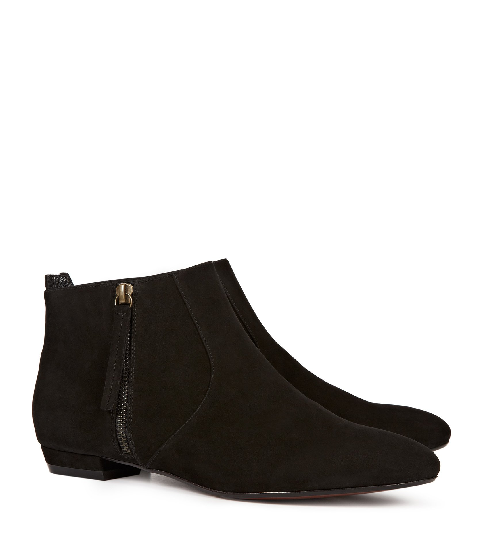 Reiss Lara Zip Up Denim Flat Ankle Boot in Black | Lyst
