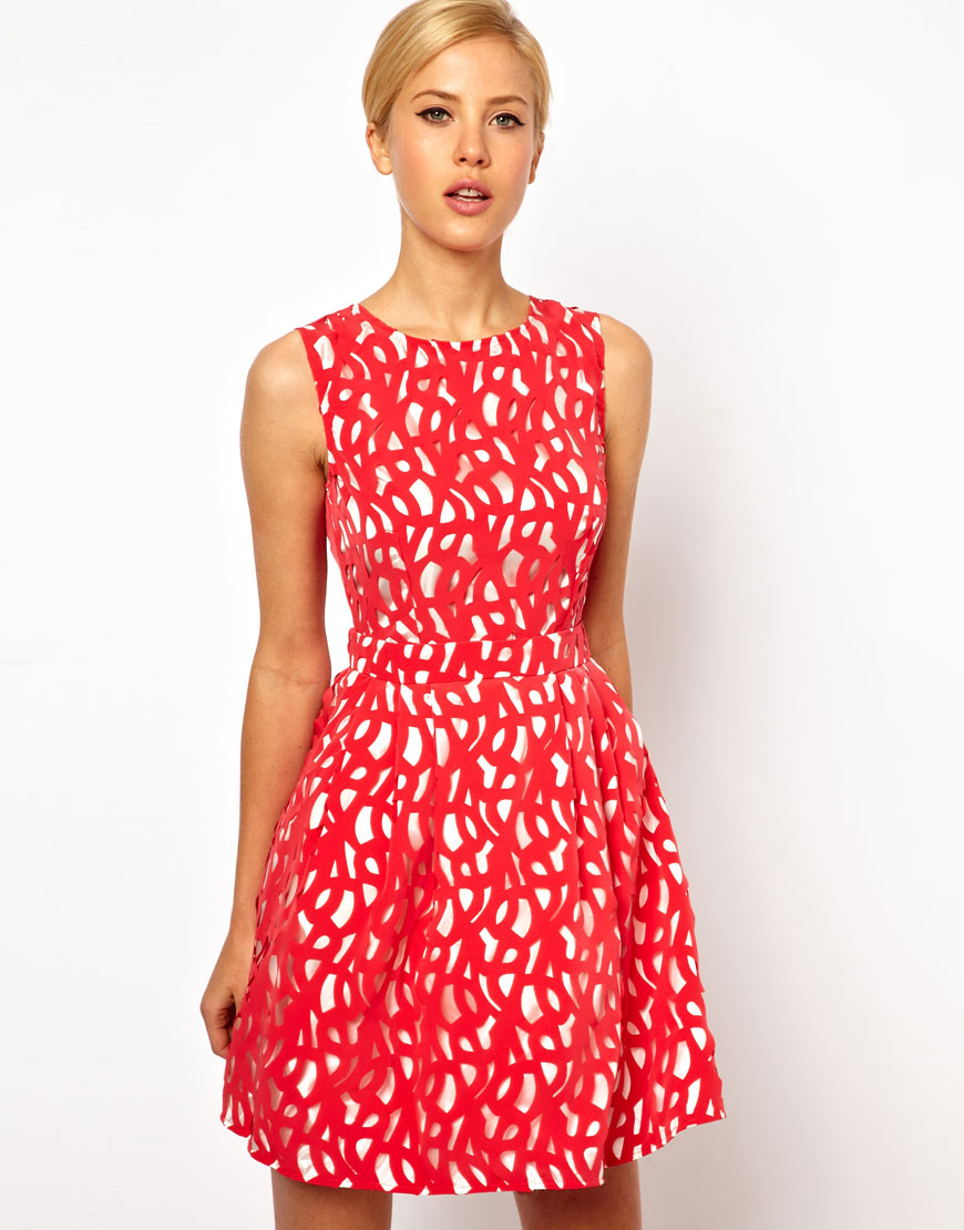Asos Lasercut Dress with Cut Out Back in Red - Lyst