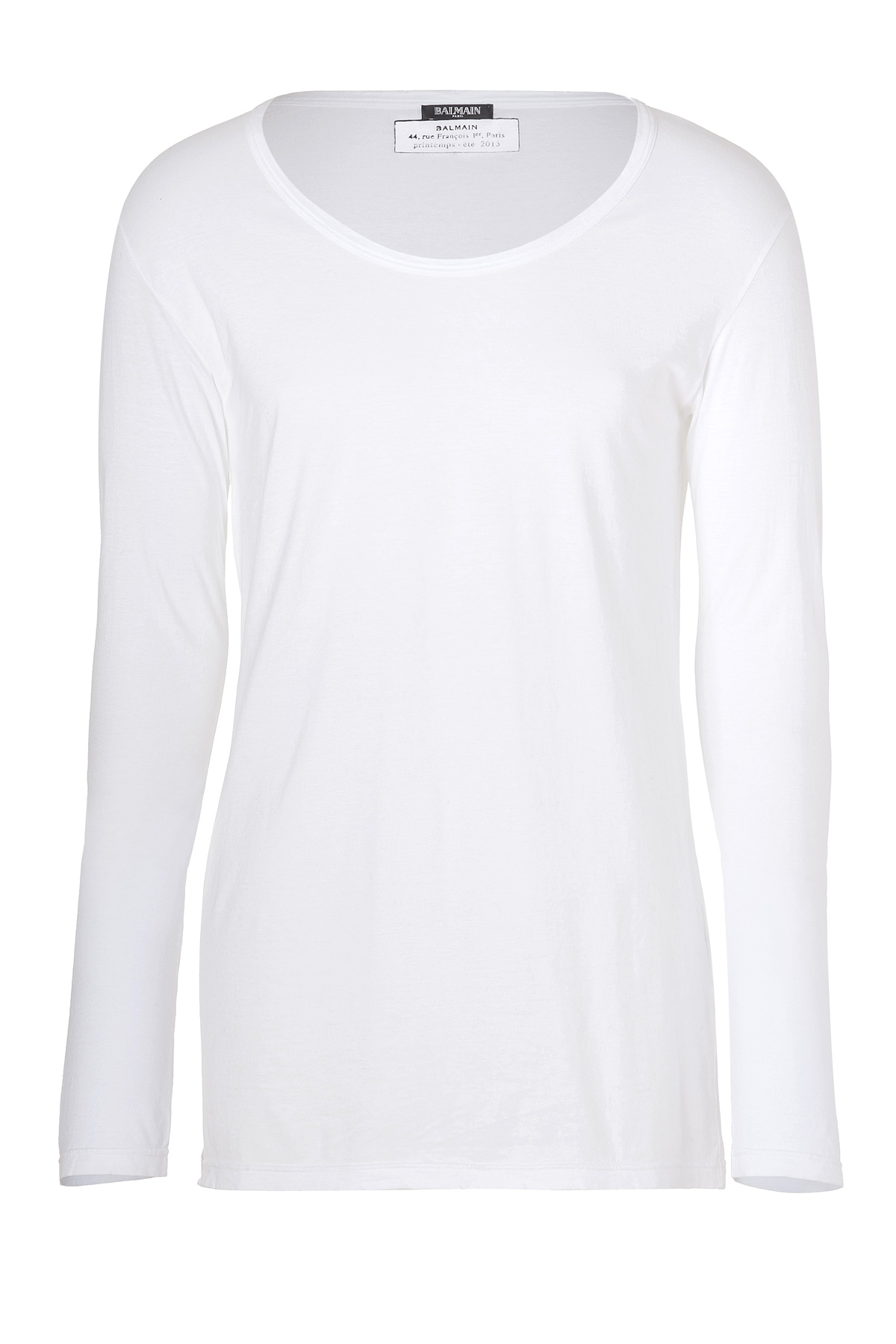 Balmain White Cotton Scoop Neck T Shirt In White For Men