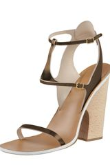 Chloé Metallic Leather Anklewrap Sanda - Lyst