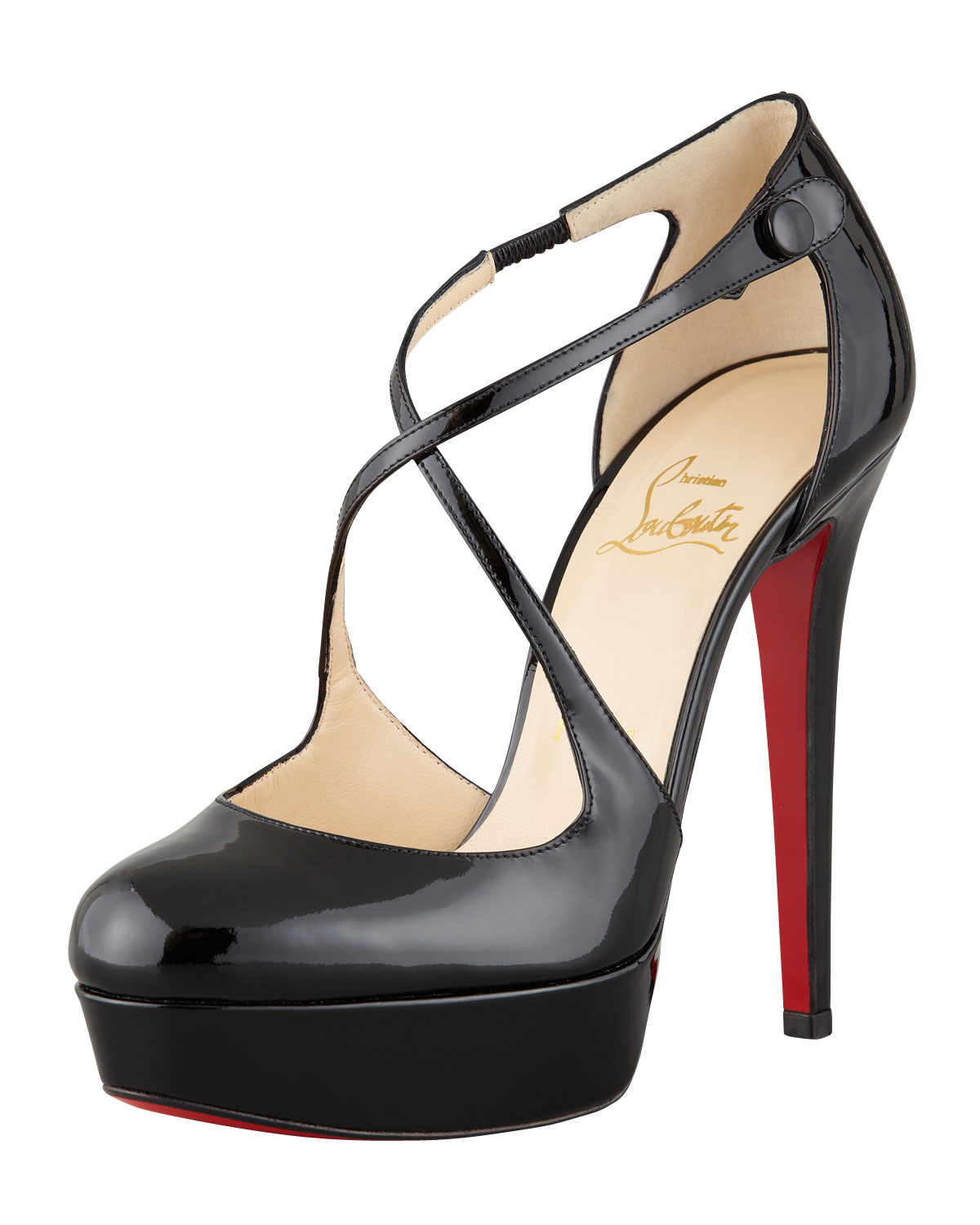 2bd5d1f8493d Lyst - Christian Louboutin Borghese Patent Platform Red Sole Pump in ...