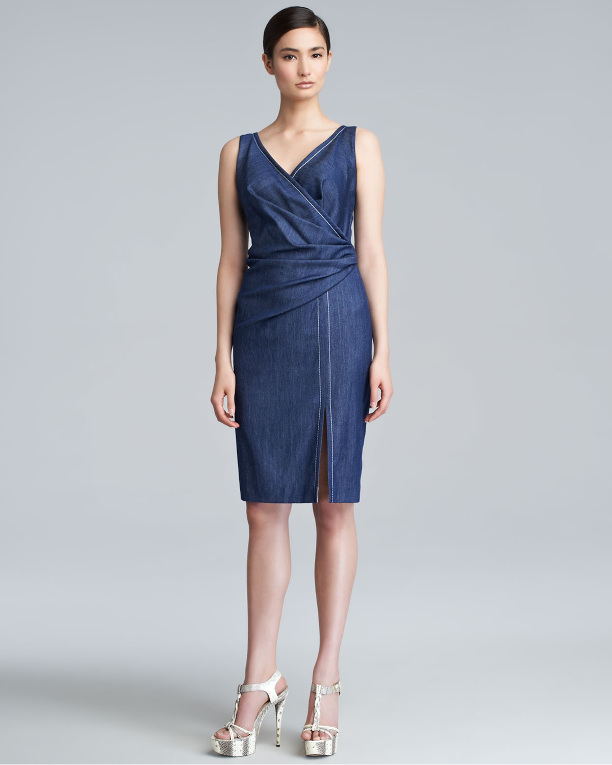 Lyst Escada Deliana Denim Dress In Blue