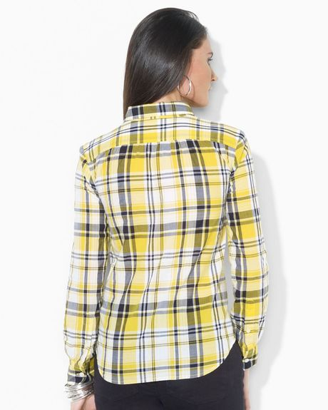 Lauren By Ralph Lauren Plaid Shirt In Yellow Dandelion