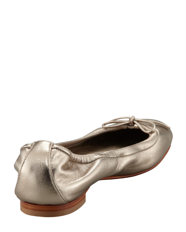 d4afbd5c9da4 ... canada lyst manolo blahnik tobaly napa ballerina flat in metallic b8361  01d54