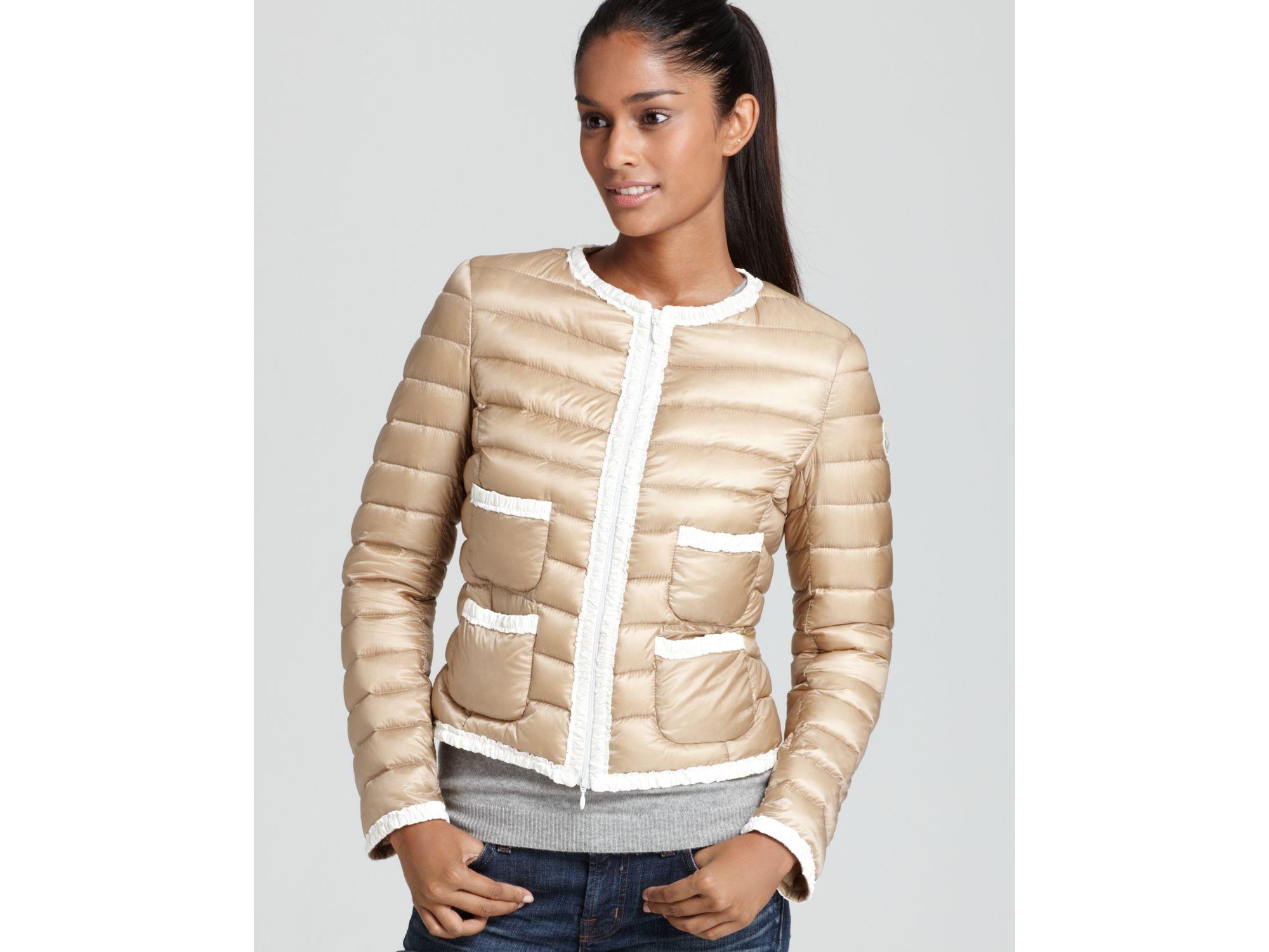 3a88113e9cd ... store lyst moncler flavienne lightweight down coat in metallic 1e759  0dd9f