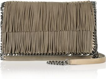 Stella McCartney The Falabella Fringed Faux Suede Shoulder Bag - Lyst