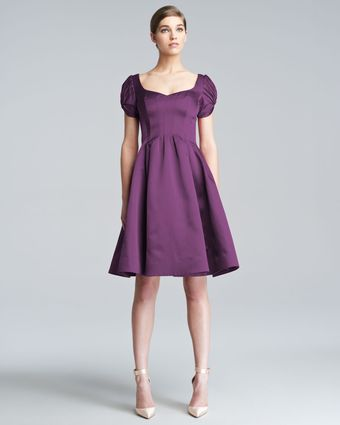 Zac Posen Flared Cloque Dress - Lyst