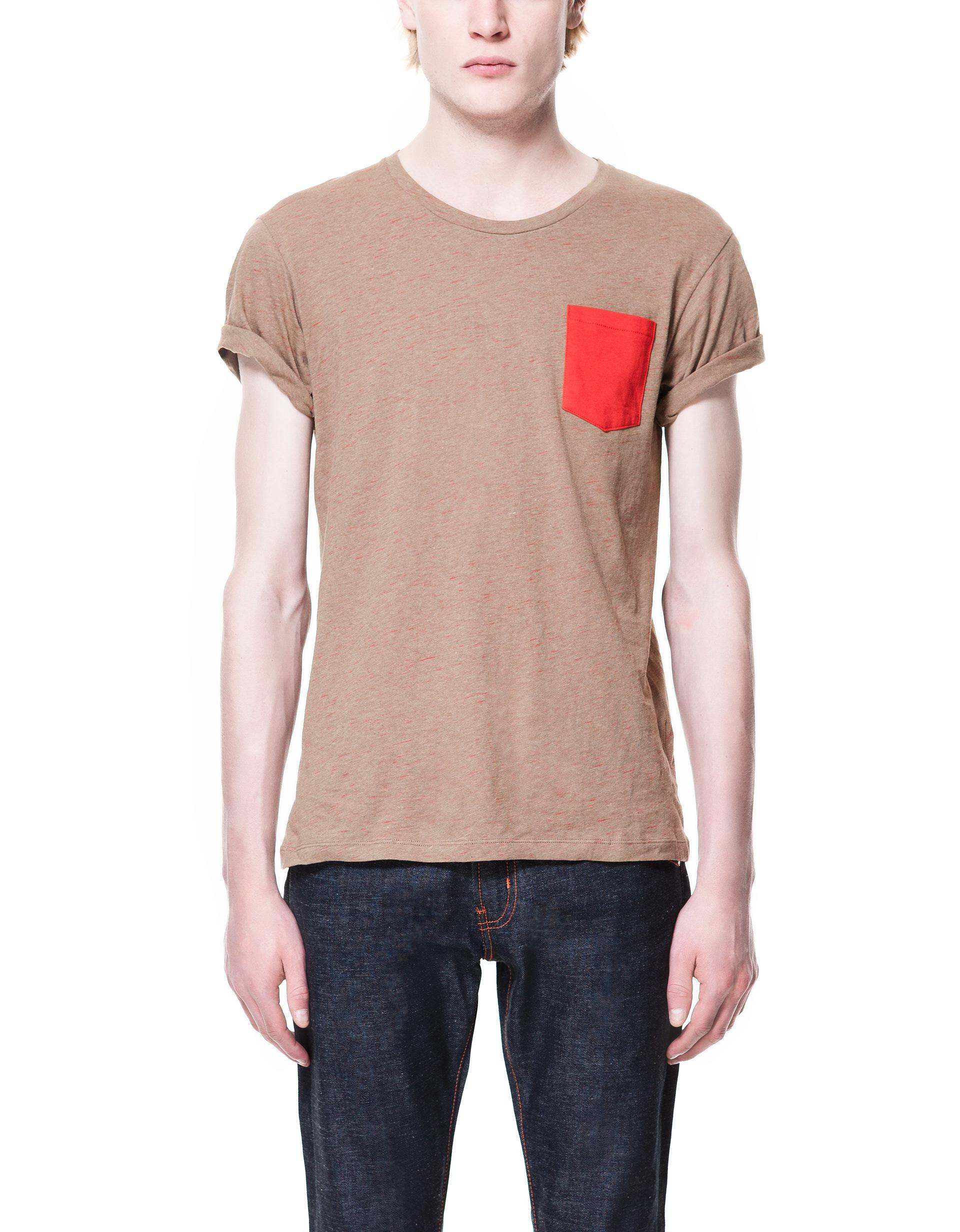 Zara slub knit t shirt in beige lyst for What is a slub shirt