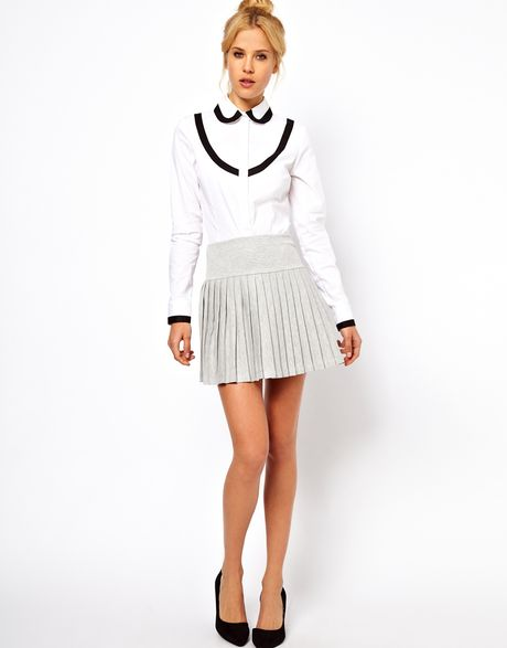 asos collection pleated mini skirt with drop waist in gray