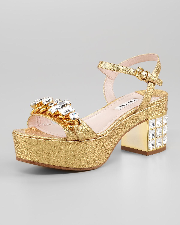 7798fa23027 Lyst - Miu Miu Jeweled Metallic Leather Midheel Sandal in Metallic