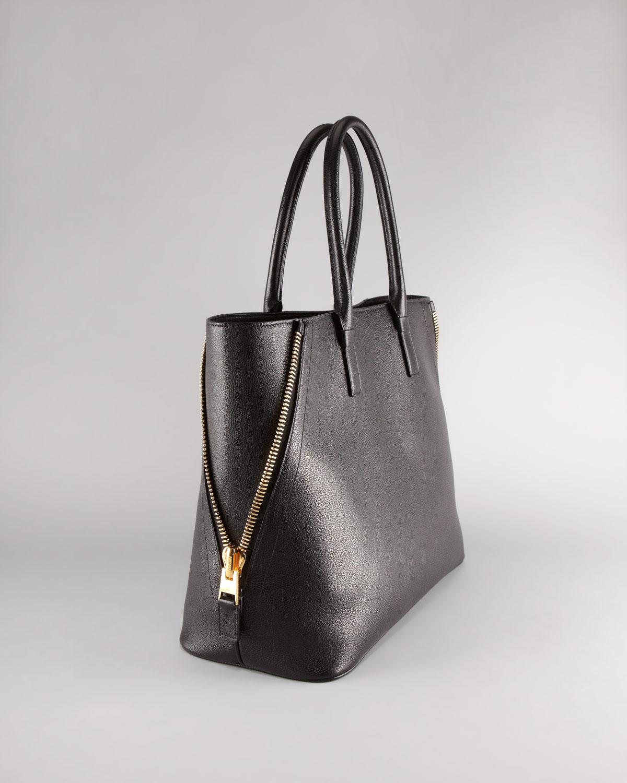 lyst tom ford natasha black woven calfskin tote bag in black. Black Bedroom Furniture Sets. Home Design Ideas